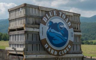 Blue Toad Hard Cider sign at entrance